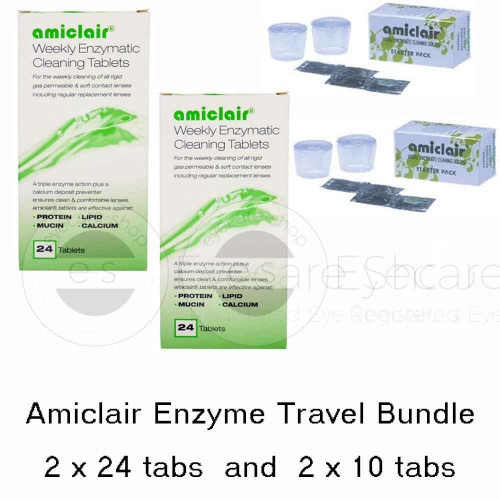 Amiclair Contact Lens Protein Remover Tablets - Travel Bundle